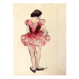 1940s Original Water Color Ballerina Painting