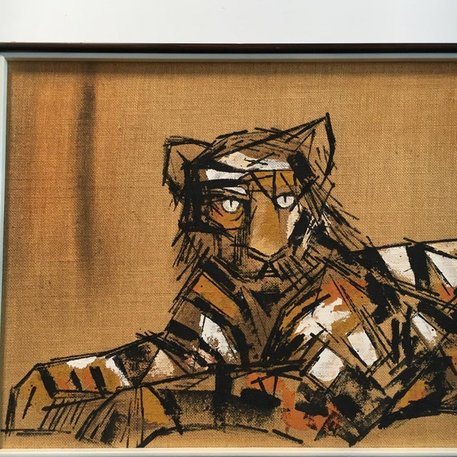 """Tiger Painting on Burlap by """"Carlos"""" - Image 3 of 4"""