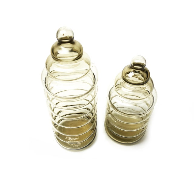 Vintage 1930s Holmegaard Smoky Brown Primula Blown Glass Apothecary Jars - a Pair - Image 2 of 4