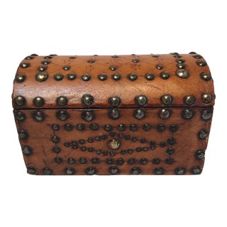 English Leather Box With Brass Studs