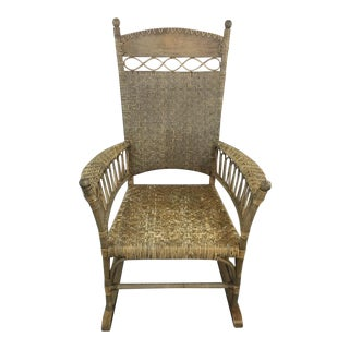 Antique Wicker & Carved Wood Rocking Chair