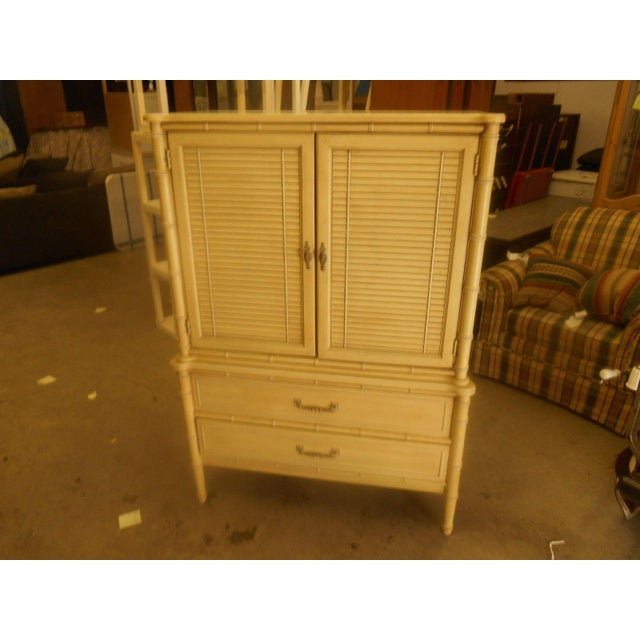 Image of Vintage Henry Link Bali Hai Faux Bamboo Armoire