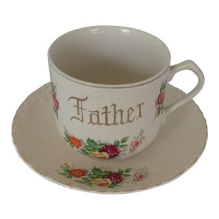 "Elegant Oversize Floral Tea / Coffee Cup For ""Father"""
