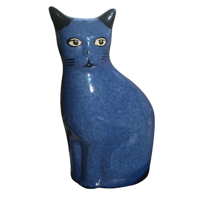 Vintage Blue Stoneware Cat - Image 1 of 6