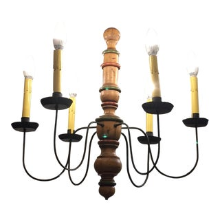 Six Light Wood & Metal Chandelier