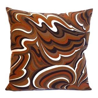 Vintage Mod Op Art Swirl Print Square Pillow