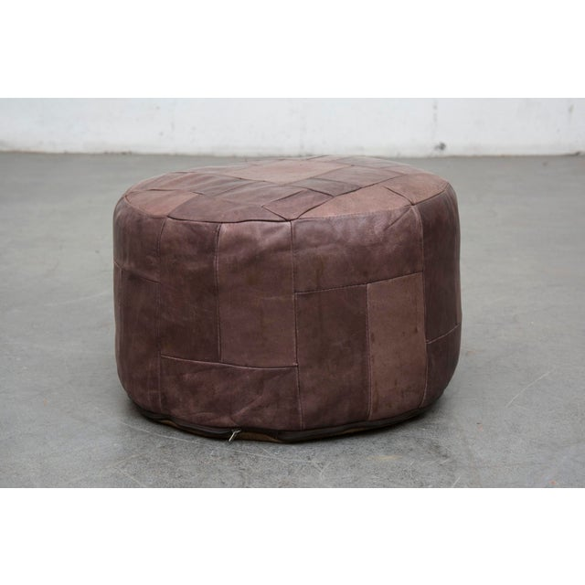 Brown Leather De Sede Style Patchwork Ottoman - Image 2 of 7