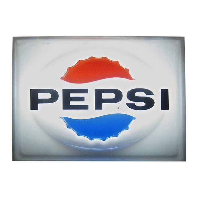 Vintage Lighted Pepsi Advertising Sign - Image 1 of 3