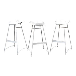 Industrial Steel Stools - Set of 3