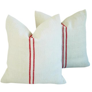 French Red Striped Grain Sack Down/Feather Pillows - Pair