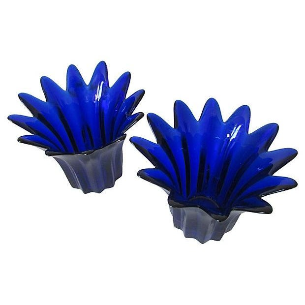 Vintage Cobalt Blue Candle Holders - A Pair - Image 1 of 5