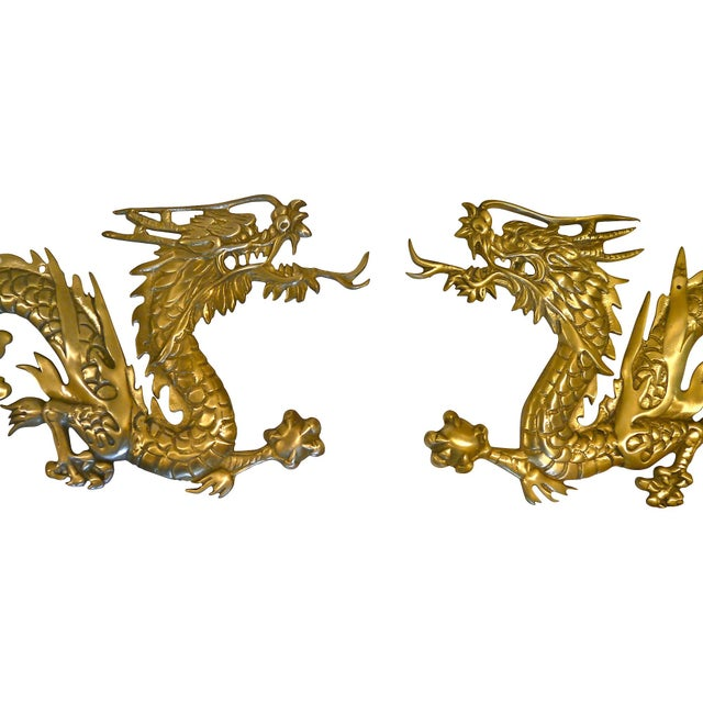 Large Brass Wall Hanging Dragons - A Pair - Image 2 of 7