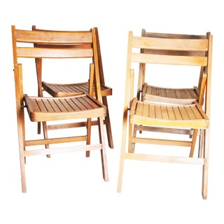 Vintage Rustic Slat Wood Folding Chairs - Set of 4
