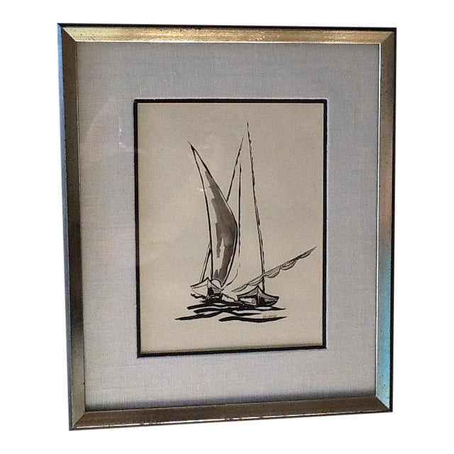 Mid Century Sailboat Painting. Black Ink Original Signed Sailboat Painting - Image 1 of 10
