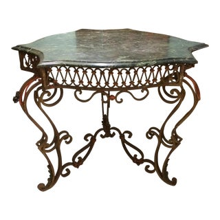 19th Century Wrought Iron & Marble Table