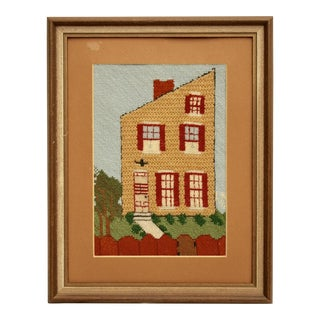1970's Framed House Needlepoint