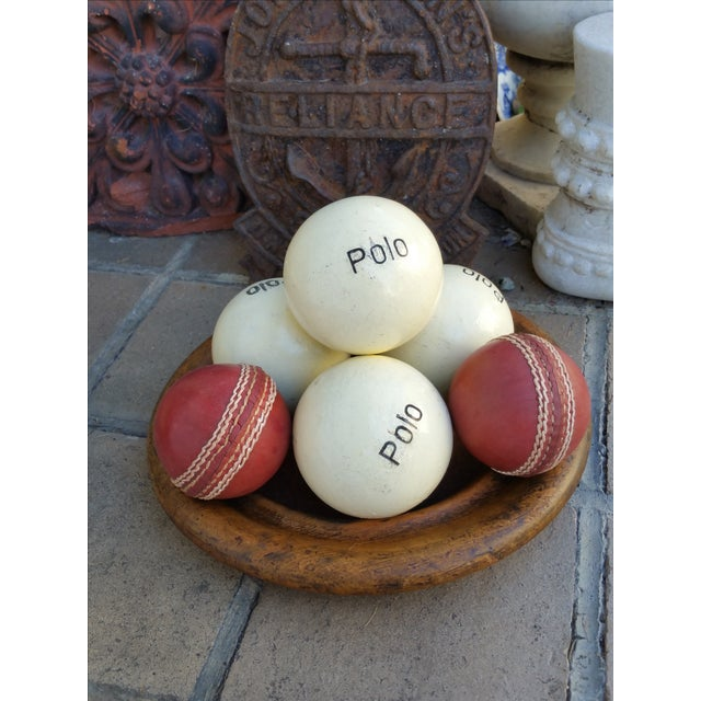 Victorian Wood Bowl With Cricket and Polo Balls - Image 3 of 5