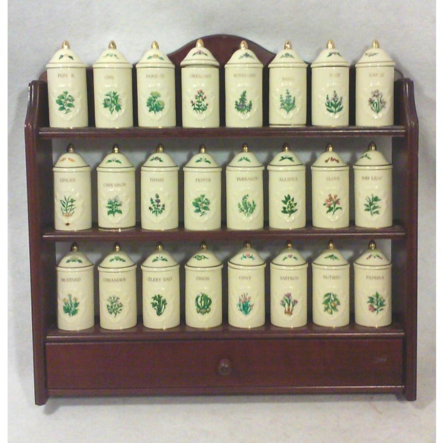 Lenox Porcelain Spice Jars with Wall Spice Rack - Set of 24 - Image 2 of 7