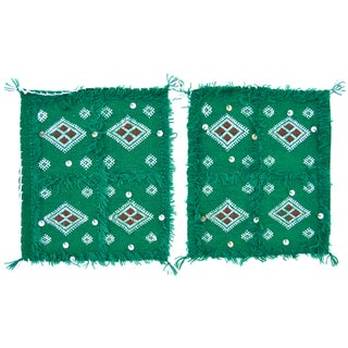 Green Moroccan Berber Wedding Shams - A Pair