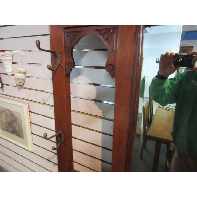 Image of Antique Victorian 1800s Walnut Hall Mirror Stand