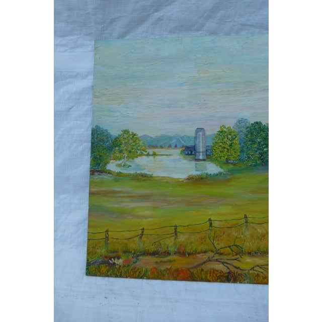 Mid Century Farm Painting by H.L. Musgrave - Image 4 of 7