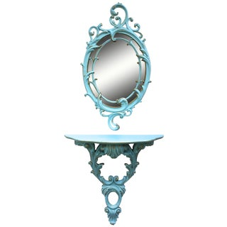 Turquoise Painted Mirror & Console Shelf - A Pair