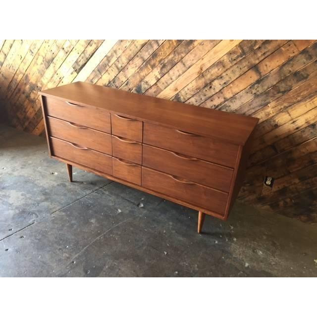 Image of Mid Century Refinished Walnut Dresser