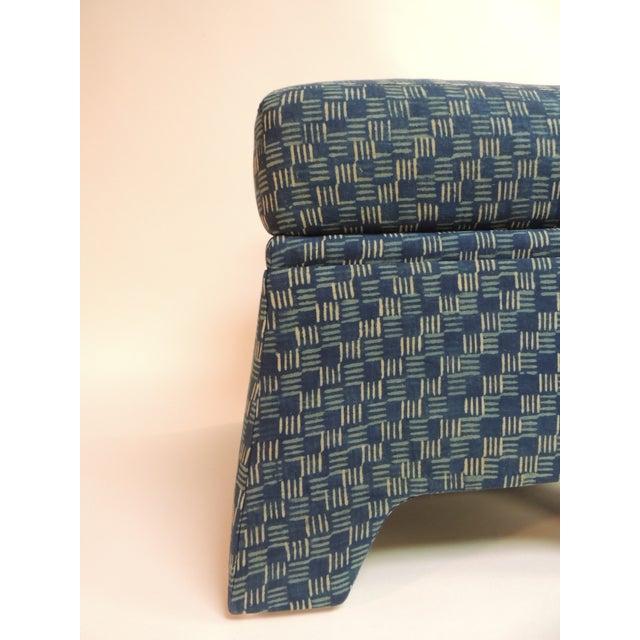 Vintage Stools Covered in Vintage Batik Indigo Textile - Pair - Image 6 of 6