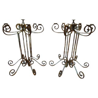Wrought Iron Pedestal Candelabras - Pair