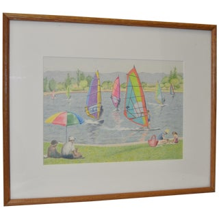 """Sunday at the Sailing Lake"" Drawing by Eleanor Perry"