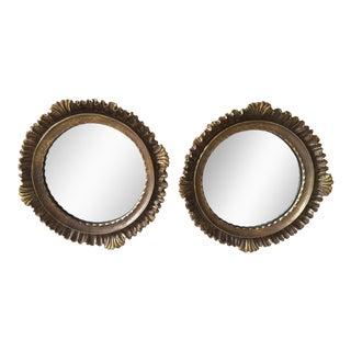 Gold Gilt Wood Mirrors - A Pair