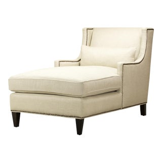 Spectra Home Plush Linen Chaise with Nailhead Trim