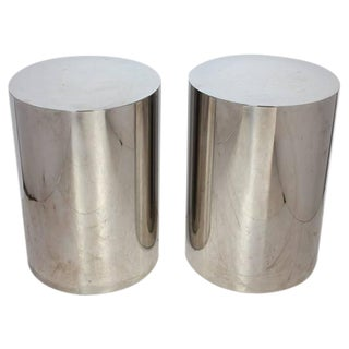 Milo Baughman Style Brushed Steel Drum Side Tables