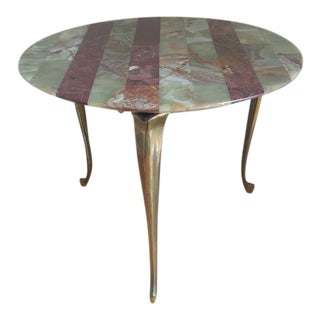 1960s Italian Brass & Striped Onyx Table