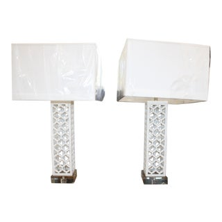 White Solid Stone Lamps - A Pair