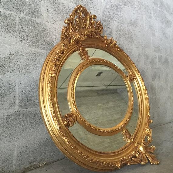 Antique French Louis XVI Gilded Wood Oval Mirror - Image 4 of 6
