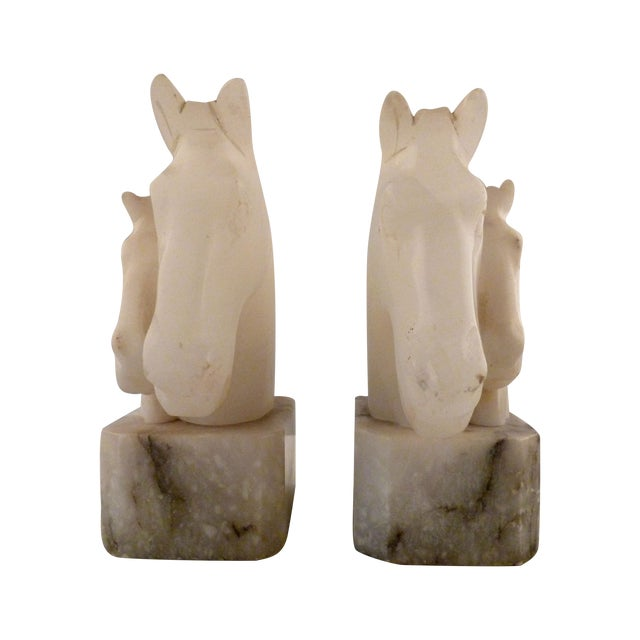 Alabaster Horse Bookends on Marble Bases - Pair - Image 1 of 11