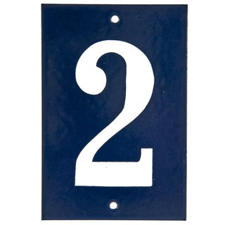 "Vintage Blue & White House Number ""2"""