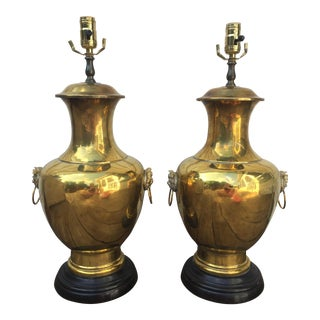 Brass Foo Dog Lamps - A Pair