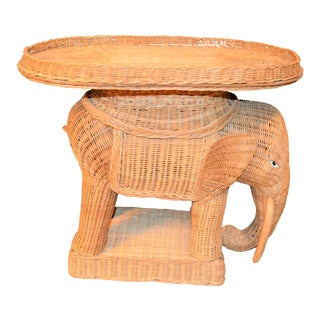 Vintage Wicker Woven Elephant Side Table