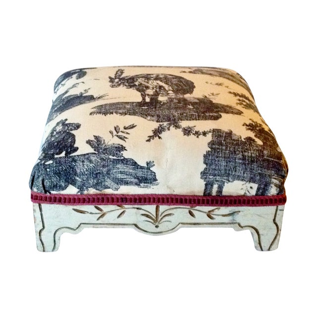 Painted French Footstool with Black & White Toile - Image 1 of 6
