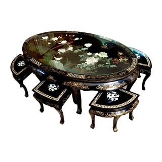 Custom Crafted Chinese Sitting Table & Chairs