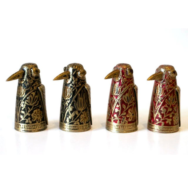 Image of Midcentury Brass & Enamel Indian Chess Pieces -S/4