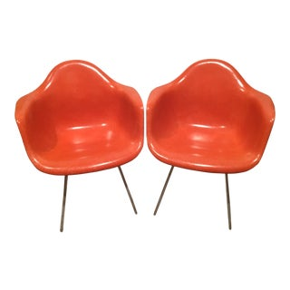 Herman Miller Red Fiberglass Shell Arm Chairs - A Pair