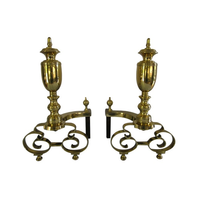 Antique 1908 W.H. Jackson Brass Andirons - A Pair - Image 1 of 8