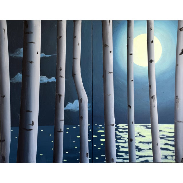 Image of Moon, Birch, Water