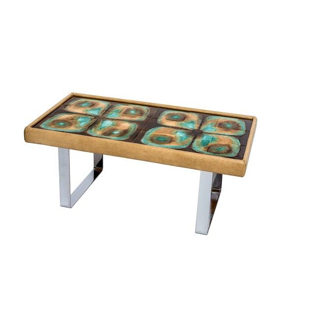 Image of Mid Century Modern Hand Glazed Tile Coffee Table