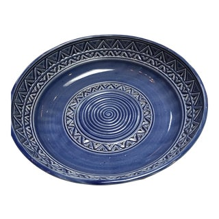 Boho Blue Etched Ceramic Bowl