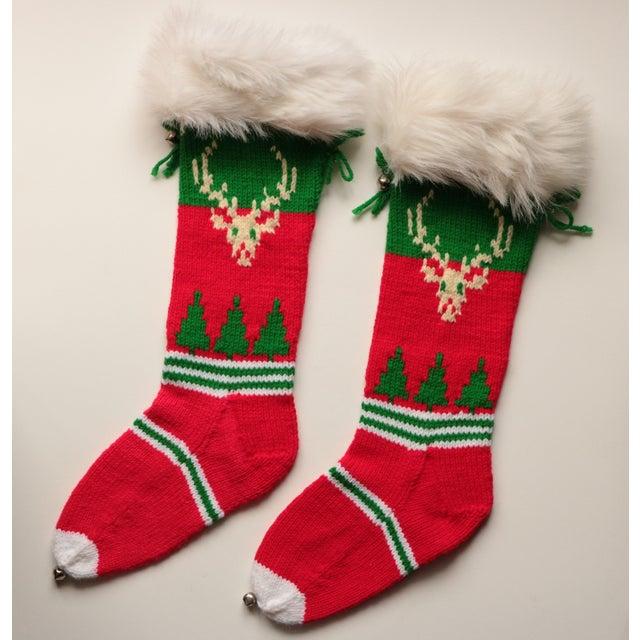 Vintage Hand-Knit Santa & Reindeer Stockings - A Pair - Image 3 of 8