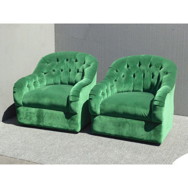 Vintage Pair of Mid Century Modern Tufted Green Velvet Swivel Club Chairs - Image 8 of 11